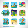 Icon set for design on the summer theme of Stock Image