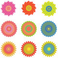Icon set with 9 different flowers, isolated on white, vector Royalty Free Stock Photo