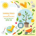 Icon set of different kind gardening tools, equipment, vegetables and plants. A colorful designs of spring horticulture. Planting
