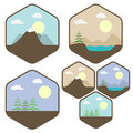 Icon set of different landscapes forest lake mountain Royalty Free Stock Photography