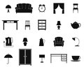 Icon set with furniture and household items. Vector.