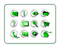 Icon Set Golden - Green-Silver Stock Image