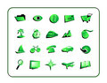 Icon Set Green - with clipping paths Royalty Free Stock Photo
