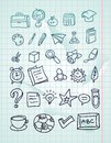Icon set - hand drawn school doodles Stock Photo