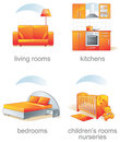 Icon set - home furniture item Royalty Free Stock Photography