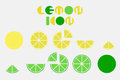 Icon set of lemon graphic with circular shape design.