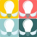 Icon Set light bulb lamp as emblem or logo, vector Royalty Free Stock Photo