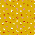 Icon set in a marine style. accessories for a beach holiday. seamless pattern