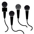 Icon set of microphones black silhouette illustration isolated on white background Royalty Free Stock Image
