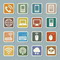 Icon set of mobile devices computer and network connections illustration eps Royalty Free Stock Photo
