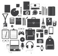 Icon Set of Office Equipment, Travel Gadget and Hobby in Flat Design, Vector Royalty Free Stock Photo