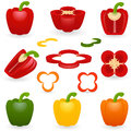 Icon set pepper vector illustration of sweet bell Royalty Free Stock Images