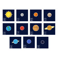 icon set with Planets and astrology symbols of planets Royalty Free Stock Photo