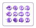 Icon Set Purple Stock Photo