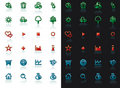 Icon set with reflection Royalty Free Stock Photo