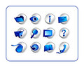 Icon Set - Silver-Blue Stock Photos