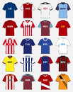 Icon set of soccer kit or football jersey template for football club. Vector Royalty Free Stock Photo