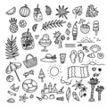 Icon set summer beach holidays, travel, vacation with sand castle, shoes, ice cream, shells, ball, drink, towel Royalty Free Stock Photo