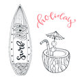 Icon set summer beach vacation with surfboard and coconut drink. Hand drawn doodle vector illustration for print design