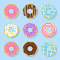 Icon set of sweet, tasty donuts in glaze.