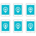 Icon set tablets and gadgets with touch-screen display. Location set illustration