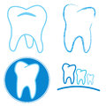 Icon set of teeth on a white background Royalty Free Stock Images