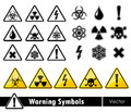 Icon set of warning symbols. Royalty Free Stock Photo