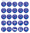 Icon set weather blue aqua Royalty Free Stock Photos