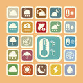 Icon set of weather sticker for background Stock Images