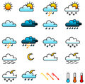 Icon set weather on white background Stock Photo