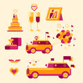 Icon set for a wedding celebration lovely red and yellow color Stock Image
