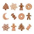 Icon set - Xmas gingerbread cookies