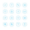 Icon sets with circle universal thin on white background for web mobile Royalty Free Stock Photography