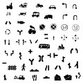 Icon sign vector set of warning and road sign free hand drawing Royalty Free Stock Photo