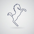 Icon Silhouette Horse, Wild Mustang, Who Stood On His Hind Legs