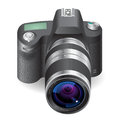 Icon for slr camera white background vector saved as eps file contains objects with transparency Royalty Free Stock Image