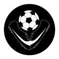 Icon of soccer a white silhouette two shoes with a ball Stock Image