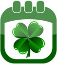 Icon St Patrick Day in a calendar with shamrock Royalty Free Stock Photography