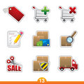 Icon sticker set - internet shopping Royalty Free Stock Photo