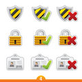 Icon sticker set - safety Stock Photos