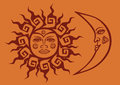 Icon of tribal sun and crescent moon isolated Stock Photo