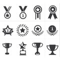 Icon trophy award vector set Royalty Free Stock Images