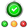 Icon validation buttons for three dimensional Royalty Free Stock Image