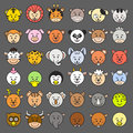 Icon vector illustration of animal faces eps file no gradients no effects no mesh no transparencies all in separate group for easy Royalty Free Stock Images