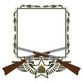 Icon winchester two old and abstract with star and wings on the background of a frame with a pattern Royalty Free Stock Photos