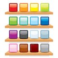 Icon on wood shelf display vector template design multicolored icons Stock Image