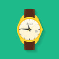 Icon of wrist watch symbol of hand clock vector illustration of timepiece chronometer Royalty Free Stock Images