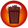 Icona o tasto dei rifiuti Immagine Stock