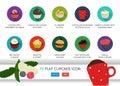 Icona piana del bigné insieme dell alimento di applicazione di vettore icone dell alimento con il gelato bigné del cioccolato Fotografia Stock