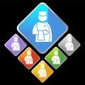 Icone del diamante del bicromato di potassio - servizio di assistenza al cliente Immagine Stock Libera da Diritti
